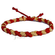 Dijon and red hemp Dots bracelet or anklet
