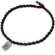 Dark brown twisted hemp choker necklace with Illumination pewter charm