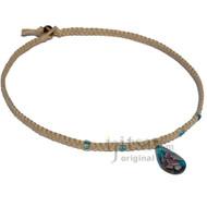 Natural flat hemp necklace turquoise/pink flower teardrop glass pendant