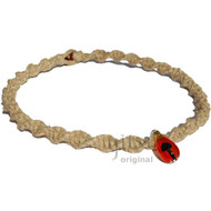 Natural Thick Twisted Wide Hemp Necklace with large Orange Black Glass Mushroom