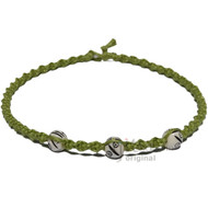 Green Tea Twisted Hemp White Bone Beads Necklace