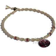 Natural Twisted Hemp Necklace with Clear/Plum Flower Glass Pendant