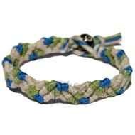 Natural, pistachio and deep sea Snake hemp bracelet or anklet