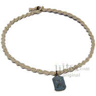Natural twisted hemp choker necklace with Love pewter charm