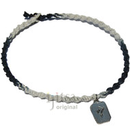 Black and white twisted hemp choker necklace with Persistence pewter rune