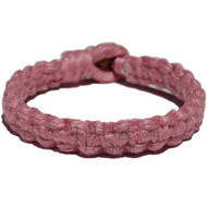Rose pink flat wide hemp bracelet or anklet