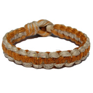Natural and golden brown flat wide hemp bracelet or anklet