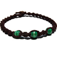 Dark burgundy twisted hemp necklace with large green glass beads