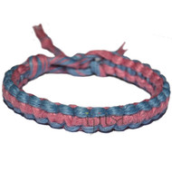 Sky blue and rose flat wide hemp bracelet or anklet