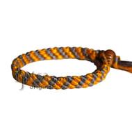 Gold and Grey Bamboo Yarn Diagonal Surfer Bracelet or Anklet