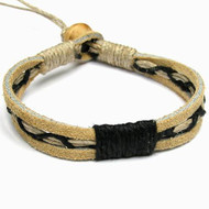 Tan Leather Black Hemp Bracelet or Anklet