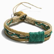 Tan Leather Green Hemp Bracelet or Anklet