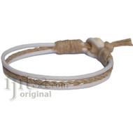 White leather & hemp bracelet or anklet