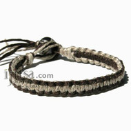 Brown and Natural Hemp Surfer Bracelet or Anklet