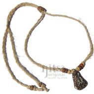 Adjustable tribal hemp necklace with ceramic pendant Couple
