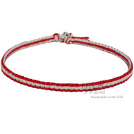 Red and White Flat Hemp Surfer Necklace