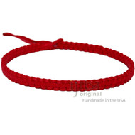 Red Wide Flat Hemp Surfer Choker Necklace