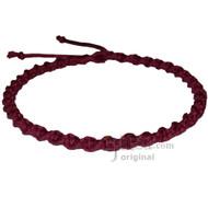 Burgundy Wide Twisted Hemp Choker Necklace