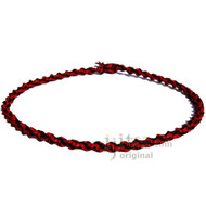 Red and Black Wide Twisted Hemp Choker Necklace