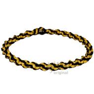 Yellow and Licorice Wide Twisted Hemp Choker Necklace
