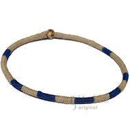 Leather Necklace Wrapped with Natural and Dark Blue Hemp