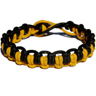 Yellow and black matte interlocked leather bracelet or anklet