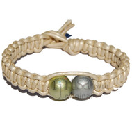 Pearl flat leather bracelet or anklet with silver and green wooden beads
