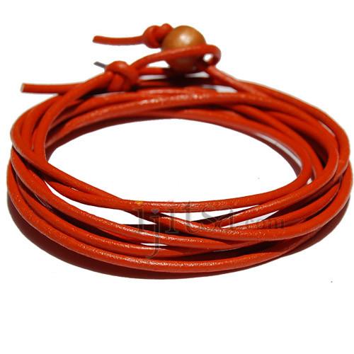 2mm orange leather wrap bracelet