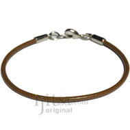2mm light brown leather bracelet or anklet, metal clasp