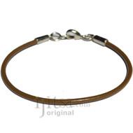 2mm light brown leather bracelet or anklet, metal clasp