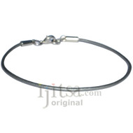 2mm silver leather bracelet or anklet, metal clasp