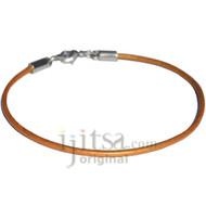 2mm gold leather bracelet or anklet, metal clasp