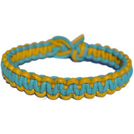 Yellow and turquose flat leather bracelet or anklet