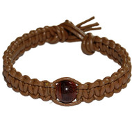 Light brown flat leather bracelet or anklet with one tiger eye bead