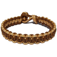 Lawn and light brown flat leather bracelet or anklet