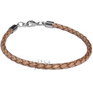 4mm natural braided leather bracelet or anklet metal clasp