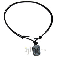 Adjustable leather necklace with Gemini zodiac charm