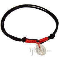 Dark brown leather, red hemp with Cowry shell adjustable necklace