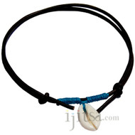 Black leather, turquoise hemp  Cowry shell adjustable necklace