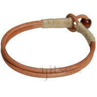 Natural double leather & natural hemp bracelet or anklet