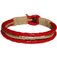 Braided Red leather & natural hemp bracelet or anklet