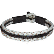 Braided White leather & Dark brown hemp bracelet or anklet