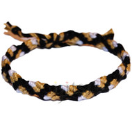 Black, gold dust and snow white cotton Snake bracelet or anklet