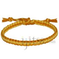 Gold and lemon flat cotton bracelet or anklet