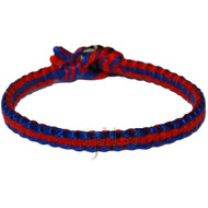 Blue and red flat cotton bracelet or anklet
