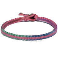 Muted rainbow  and rose flat hemp bracelet or anklet