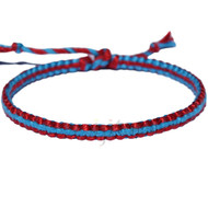 Hot red and turquoise flat cotton bracelet or anklet