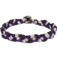 Darl Purple, pearl and black hemp Snake bracelet or anklet