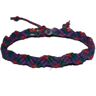 Purple, midory and ruby hemp Snake bracelet or anklet
