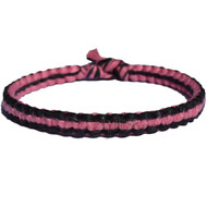 Licorice and rose flat hemp bracelet or anklet